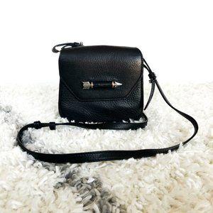 Mackage Arrow Crossbody Pebbled Leather Bag Black